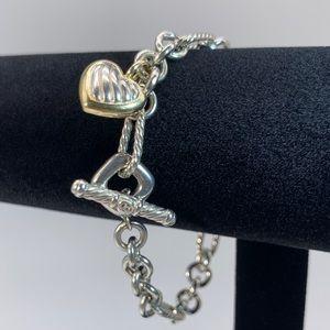 David Yurman SS 18k Heart Figaro Link Bracelet